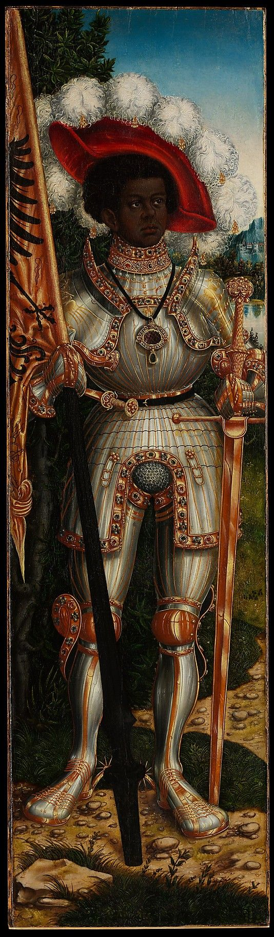Saint Maurice Lucas Cranach the Elder and Workshop   (German, Kronach 1472–1553 Weimar) Date:ca. 1522–25 Medium:Oil on wood Dimensions:54 x 151/2 in. (137.2 x 39.4cm) Originally the left wing of an altarpiece, this panel represents Saint Maurice, the Roman legion commander who was martyred for refusing to slaughter the Christians of Gaul in the late third century A.D. Painted about 1522–25 Click here for more.