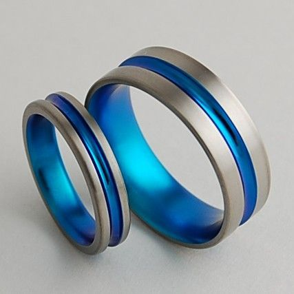 SHOP: Titanium Wedding Bands  , Dionysus in New Beginning Blue , Price Includes Both Bands. $150.00, via Etsy.