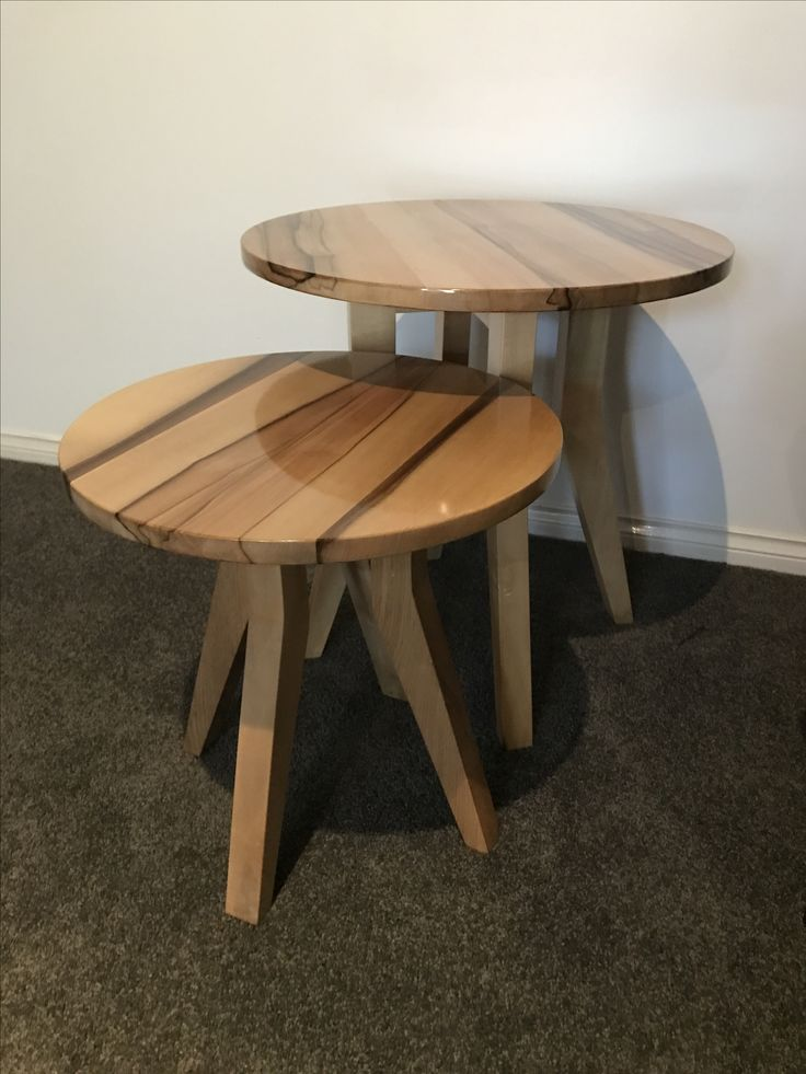 Side tables made from solid black heart sassafras timber.