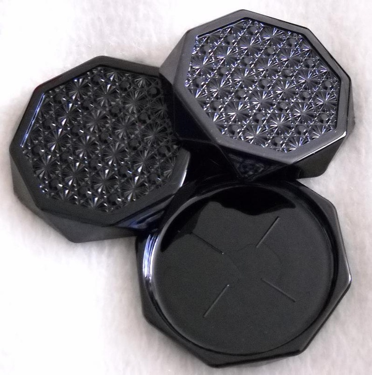 Black #Amethyst Glass #COASTERS - got 6 of these at the Sally-Ann - $1. total! - [recently discovered that These are the #OCTIME-BLACK pattern made by #ARCOROC] - #Vintage