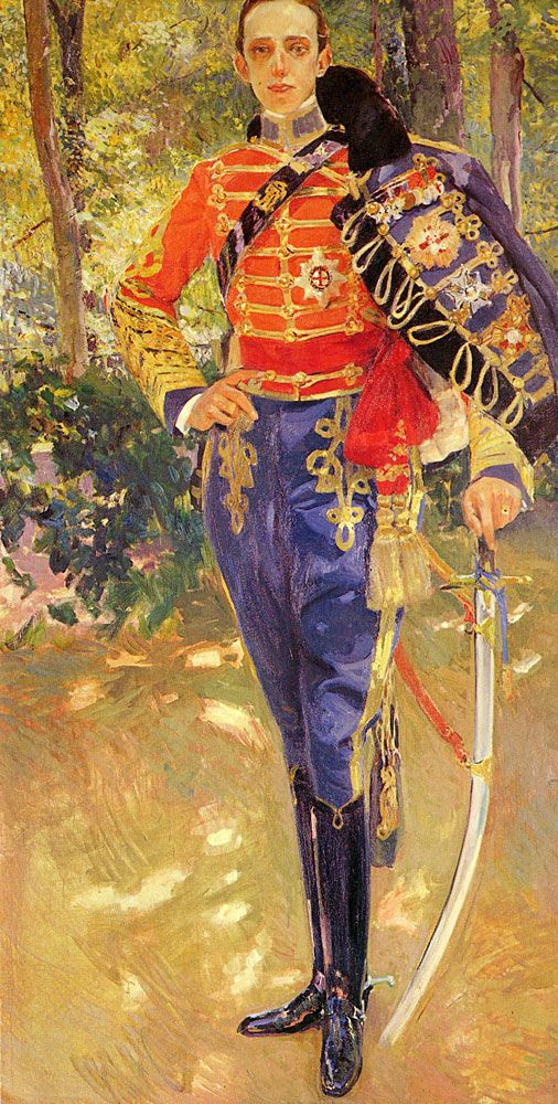 Portrait of King Alfonso XIII in a Hussar's Uniform, 1907, by Joaquin Sorolla y Bastida (1863–1923). Oil on canvas