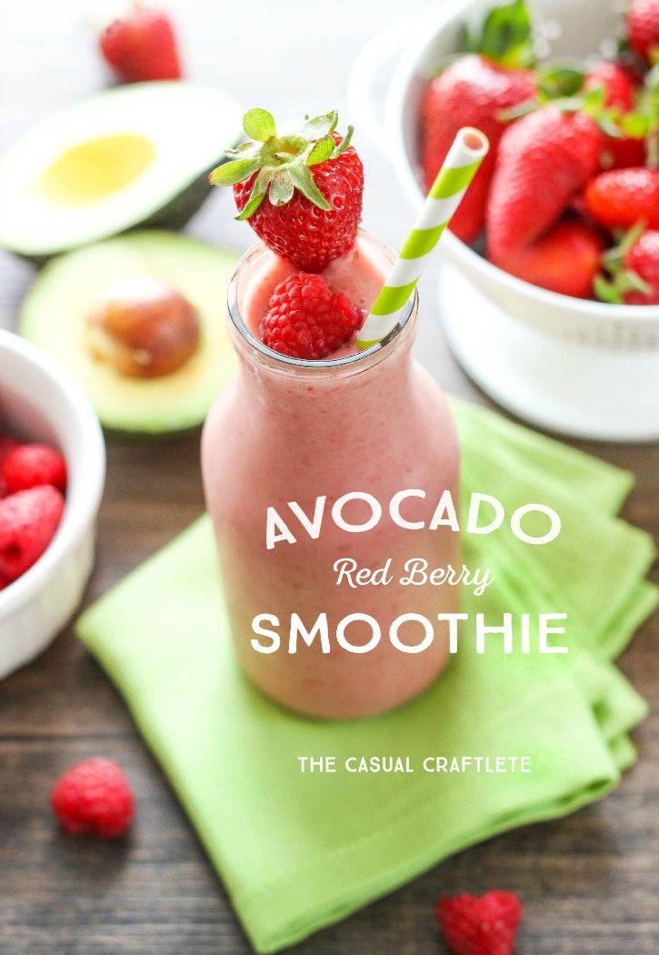 Healthy Avocado Red Berry Smoothie Recipe. Perfect for breakfast!