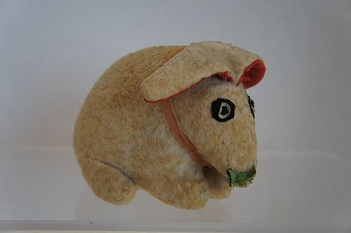 """19th C. flannel toy rabbit with lettuce all original 6"""" antique #unitedsellers"""