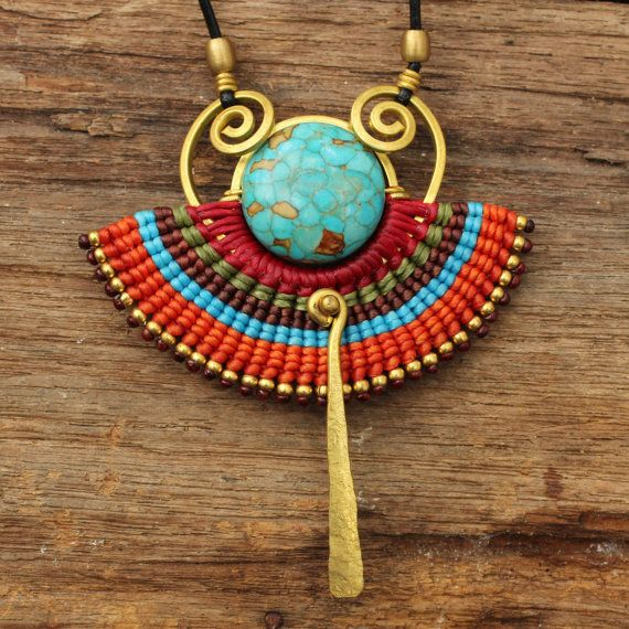 Woven cotton tribal necklace with brass and by cafeandshiraz, $51.00