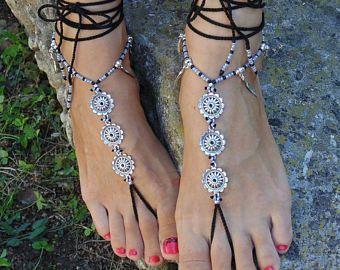 Turquoise spiraal BAREFOOT SANDALS voet juwelen hippie