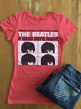 """Women's Beatles T Shirt Small Red The Beatles Band """"A Hard Day's Night"""""""