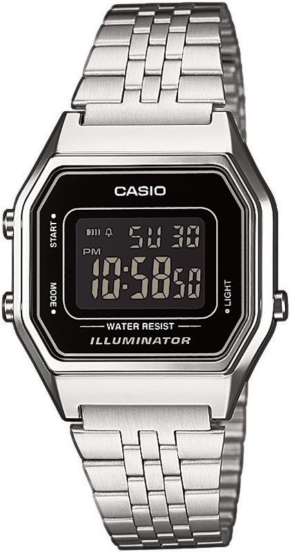 Casio Classic LA680WEA-1B LA680WEA-1BEF, Casio Silver & Black Retro Digital Watch for women - watch shop mens, black watches for men, cool mens watches *ad