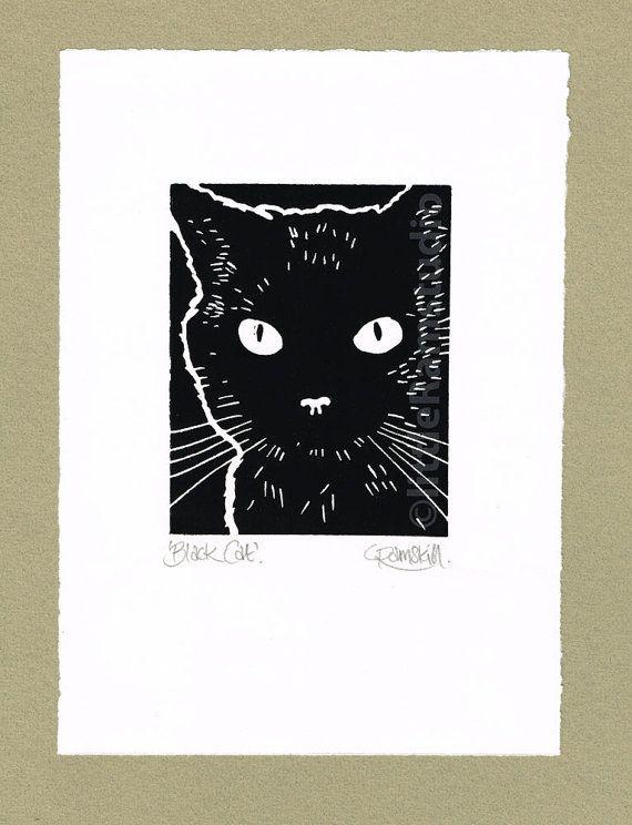 Black Cat- Linocut Original hand pulled Relief Print by Little Ram Studio