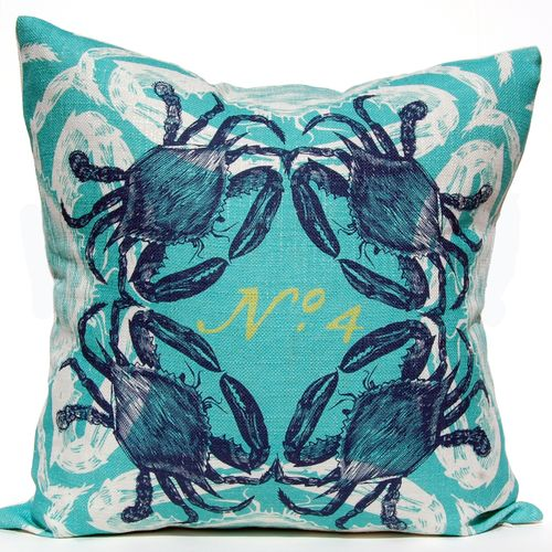 Nautical with a twist, this fun Crabs Ocean luxury pillow is created with a bright aqua background and overlapping blue and white crab images.