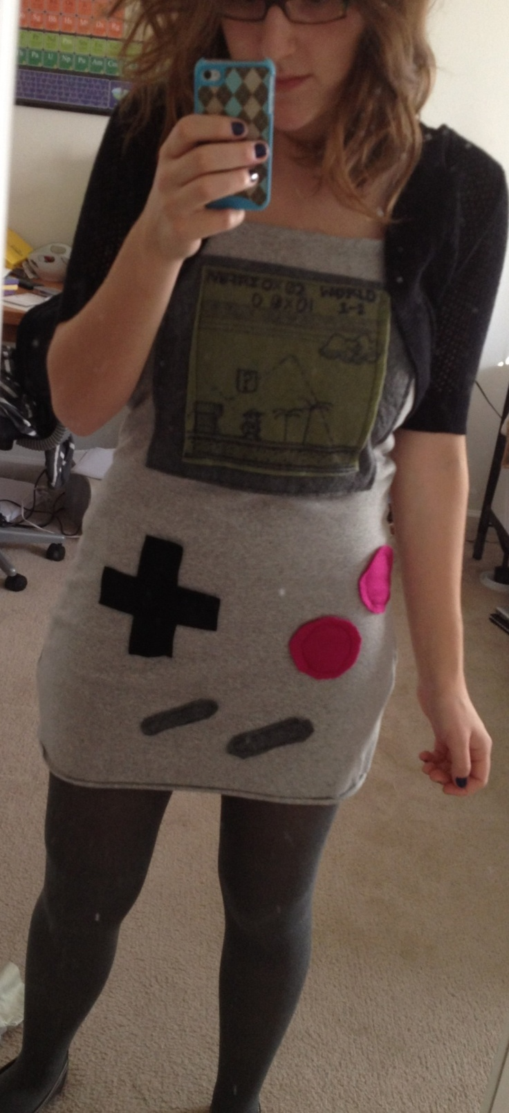 my halloween costume last year!     Made a tube dress from grey jersey, added felt pieces and drew on a mario scence --> Gameboy costume!