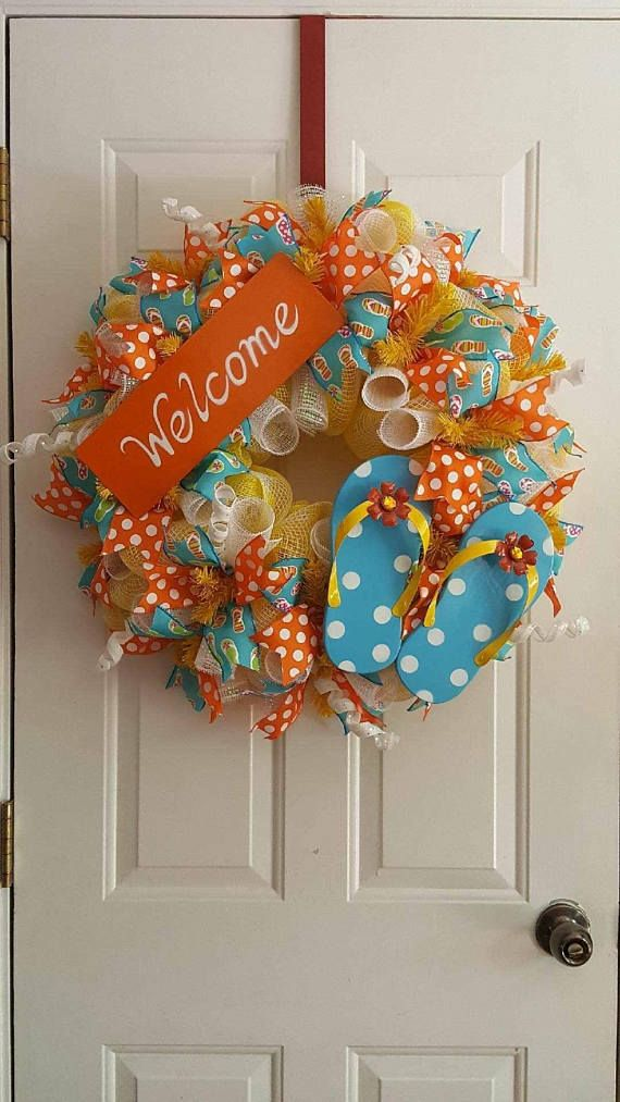 This is a finished product and is ready to ship! It is weather friendly and about 26 inches around. This wreath is made up of a premium yellow and white plaid 21 mesh, white w/ irrodescent wide foil curls, white glitter curls, orange w/ white polka dots ribbon, turquoise w/ flip flops