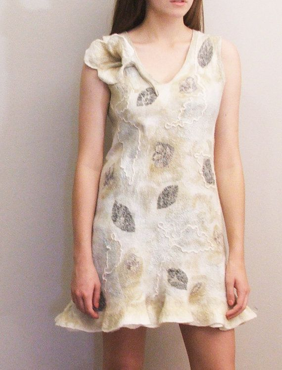 Nuno felted dress OOAK wool and silk felted Art to by beatassoul, $275.00