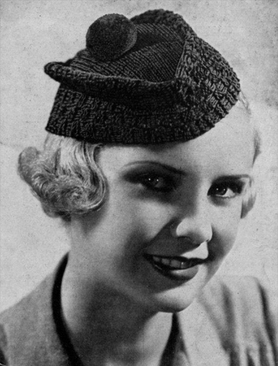 Scotch Beret - Vintage 1930s Knitting Hat Pattern Elsa schiaparelli, Vintag...