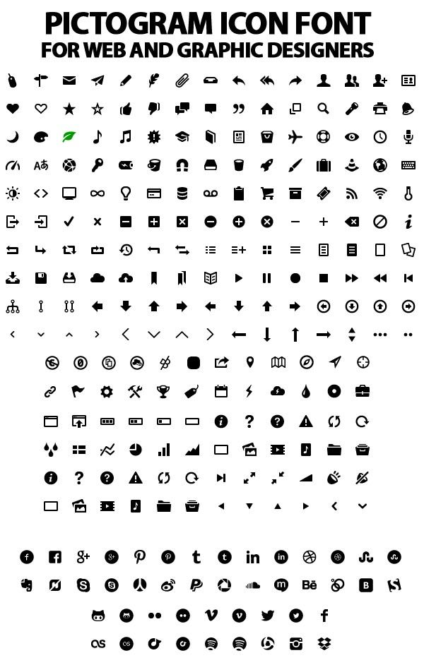 Pictogram Icon Font (250+ items)