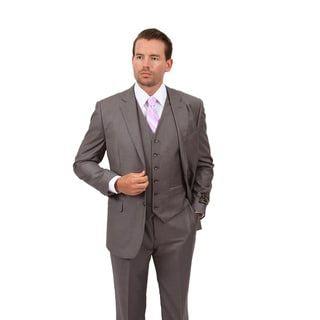 Demantie Men's Grey Classic Fit 3-Piece Suit