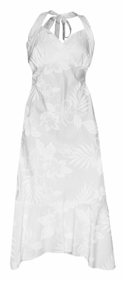 Hibiscus Shadows Hawaiian Print Halter Strap Dress in White, Tropical Wedding Prints, 328-3585_White - Paradise Clothing Company  Maybe Bridesmaids dress !