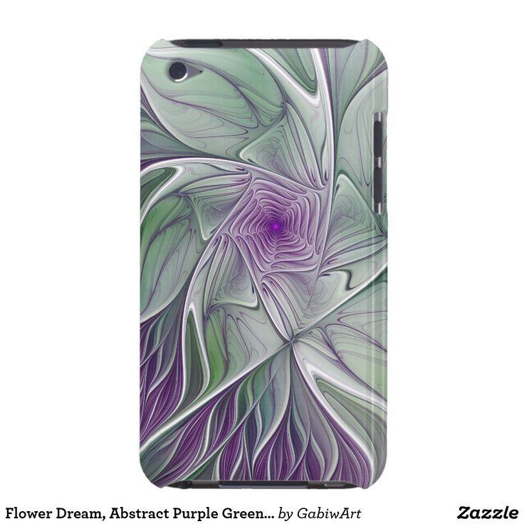 Flower Dream, Abstract Purple Green Fractal Art iPod Case-Mate Case