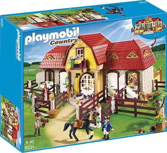 PLAYMOBIL 5221 stor hestegård med paddock Playmobil 5221 stor hestegård kommer med fire paddocker og høyloft. Med klistremerker til båsene som du kan skrive på, samt masse tilbehør. Str.: 75 x 46 x 29 cm. ' 13OO KR