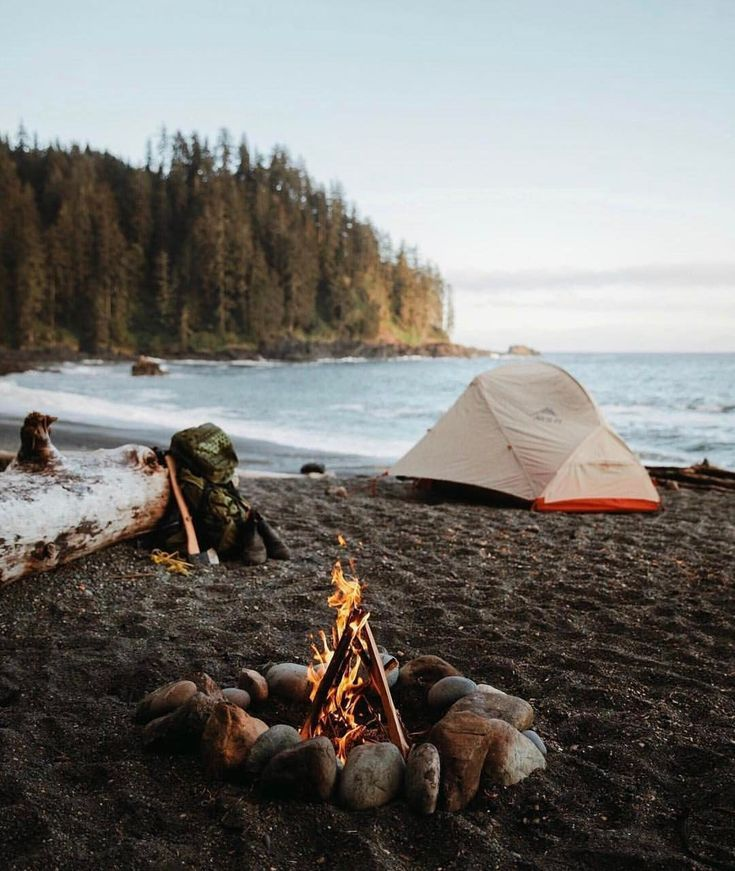 Camping on the beach. Just imagine being lulled to sleep by the rhythmic water lapping up on the shore.