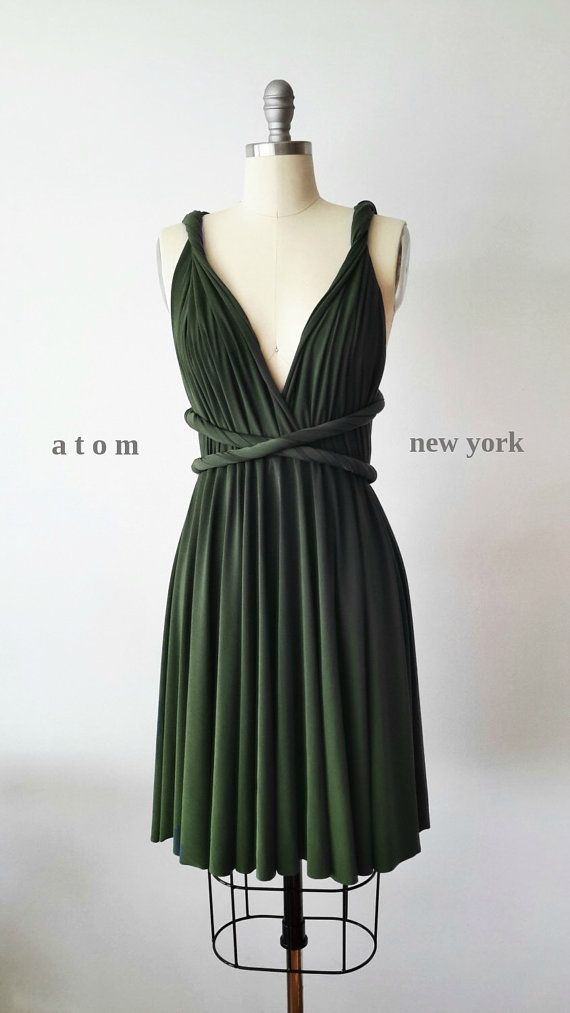 Forest grün kurz Infinity Kleid Cabrio formale Mehrwege-Wrap Kleid Brautjungfer Kleid Party Kleid Cocktailkleid Abendkleid Hochzeit