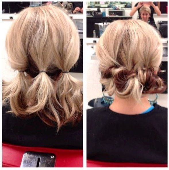 Finehair Hairstyles Quick Easy Updo For Medium Length Hair Click To See More Hair Styles Lazy Day Hairstyles Medium Hair Styles