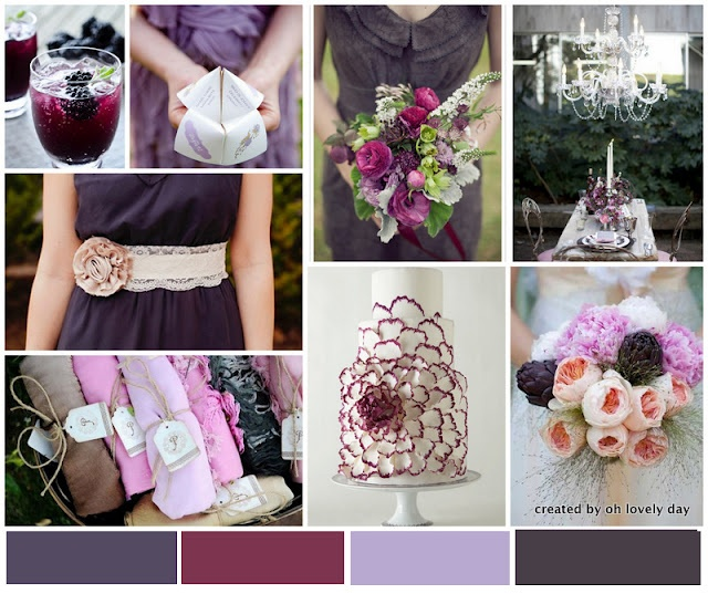 Eggplant Elegance color trend for Fall wedding.Ideas, Color Palettes, Inspiration Boards, Amazing Cake, Colors Palettes, Purple Wedding, Colors Schemes, Eggplants Elegant, Flower Cake