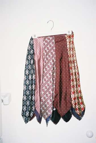 Skirt made from discarded ties.  Wish I had known about this before my daddy died.  What a memory  that would have been.
