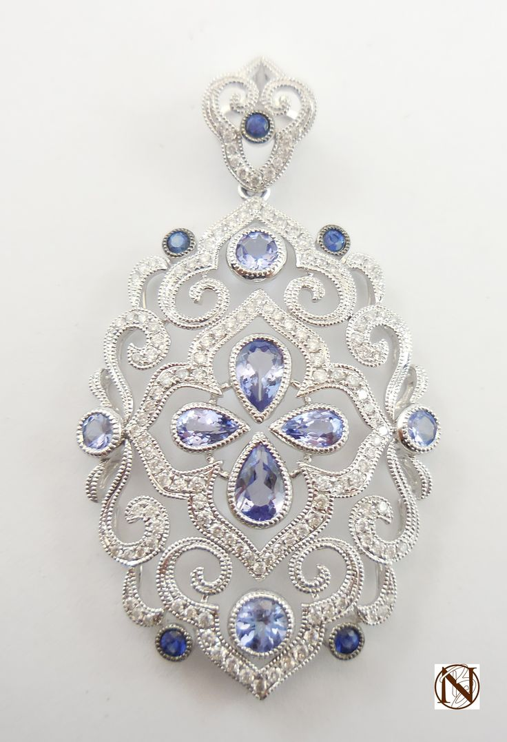 Amazing #Tanzanite, #BlueSapphire and #Diamond #Pendant - Love the #colour!