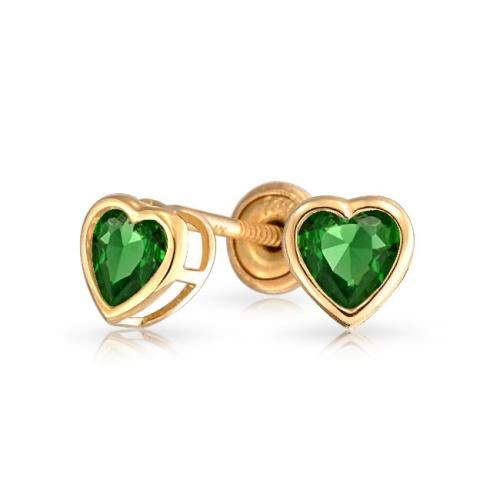 14K Heart Emerald Color CZ Baby Stud Earrings Screwback Safety