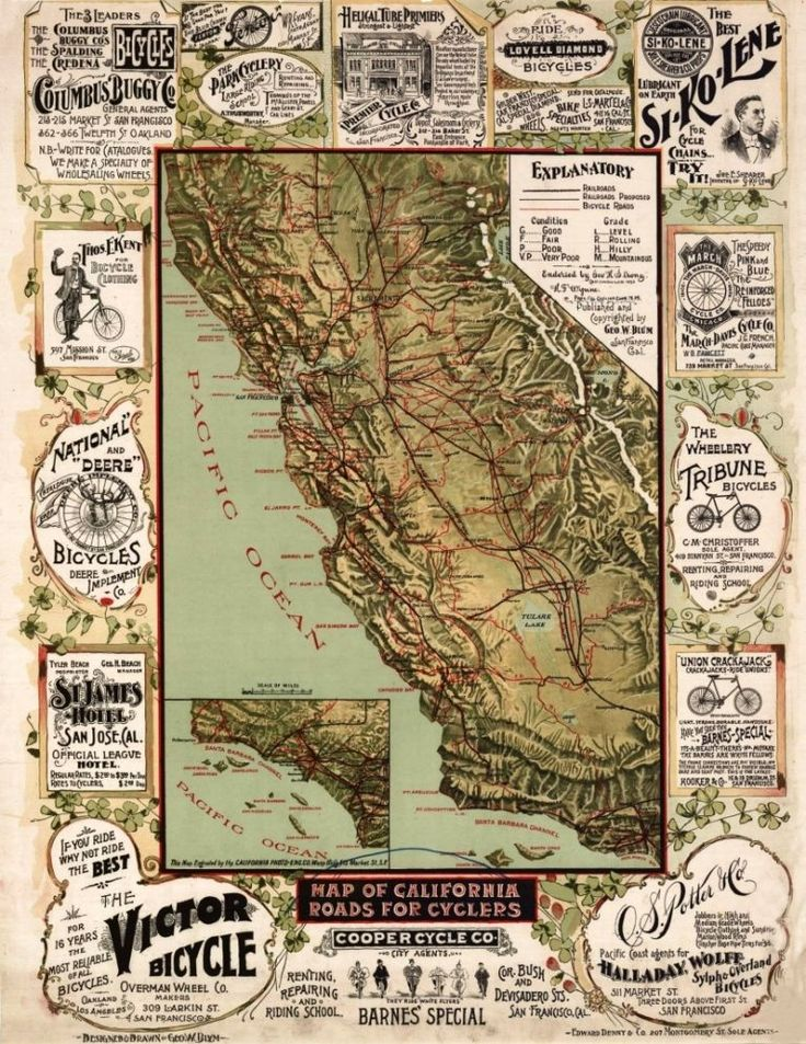 California Map Fault Lines%0A Map of California Roads for Cyclers   George W  Blum   circa