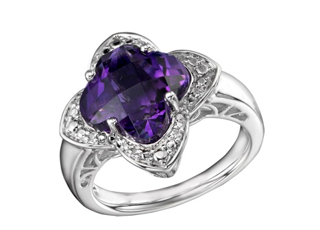 Sterling Silver #Amethyst & #Diamond #Ring $169.99