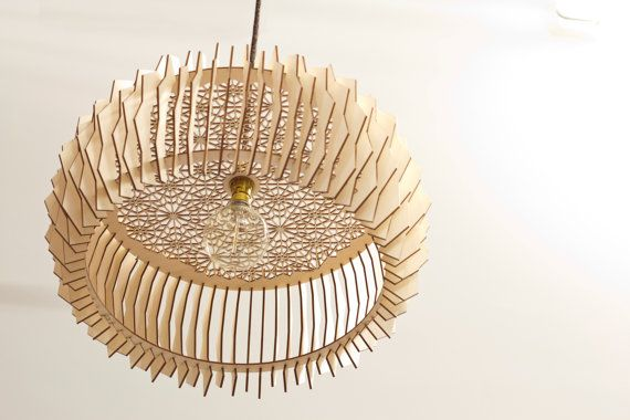The Staggered Lampshade - Arc / wooden lamps / laser cut plywood / kitchen lamp… #lighting