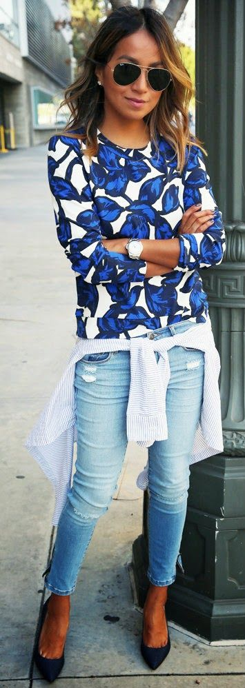 Sincerely Jules - Blue Floral Print Sweatshirt with Ankle Zip Jeans and Stripes Boyfriend Shirt and Navy Pumps.