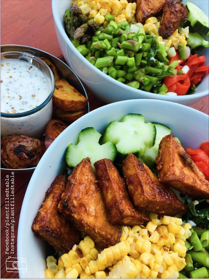 Warm BBQ tofu salad with Vegan feta dressing and roasted