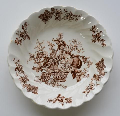 Brown Toile Vintage English Transferware Candy Bowl Bountiful Victorian Basket of Fruits and Flowers & 174 best China: Transferware-Brown images on Pinterest ...