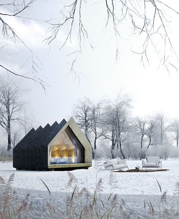 The Hermits House ... This garden pavilion is for the people who like to sleep outside and dream outside the box. Wonder what they use for underfloor insulation?