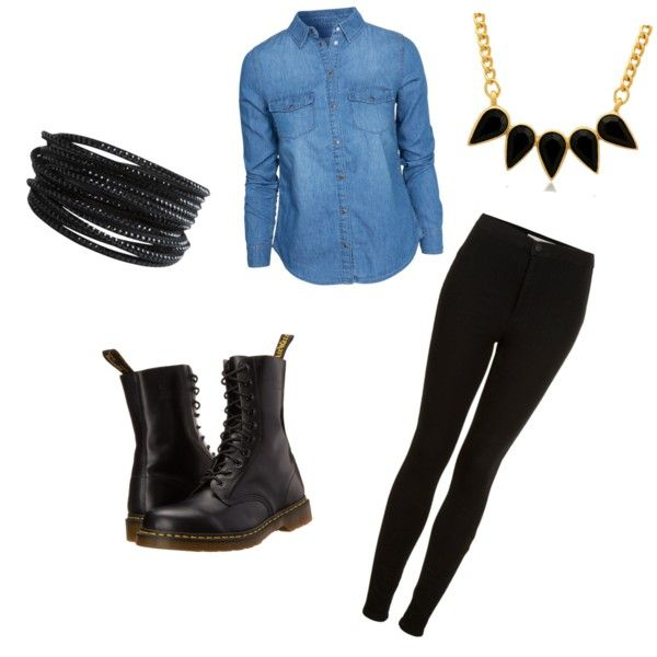Simple outfit for fall by sostudd on Polyvore featuring New Look, Topshop, Dr. Martens, George & Laurel and Pieces