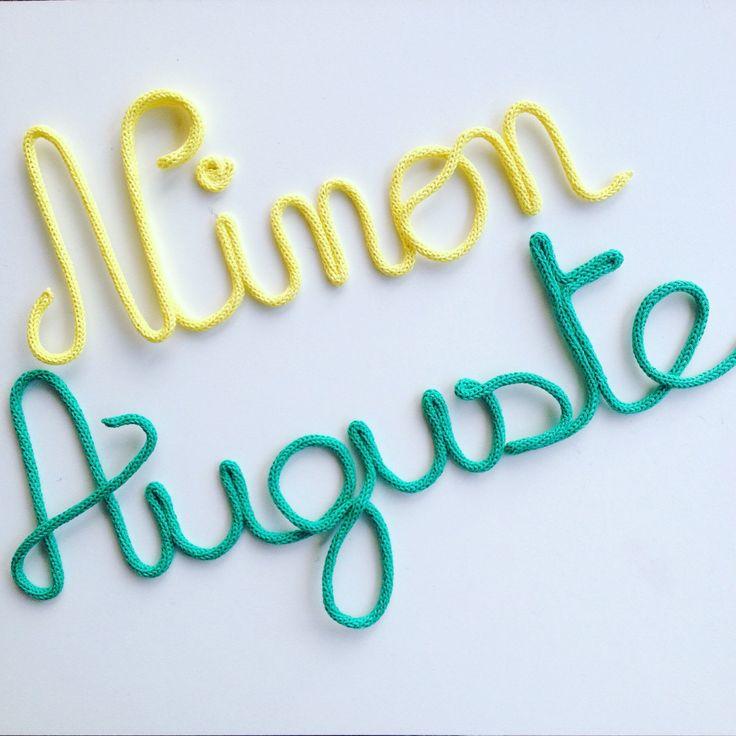 Ninon & Auguste  Citron et menthe / Lemon & mint Prénom en laine / Deco chambre bébé / Mot en tricotin