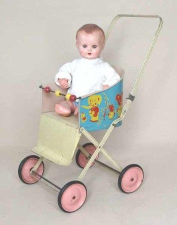 1960's vinyl and metal frame dolls stroller. Altes Spielzeug | http://www.puppenhausmuseum.de/altes-spielzeug-11.html
