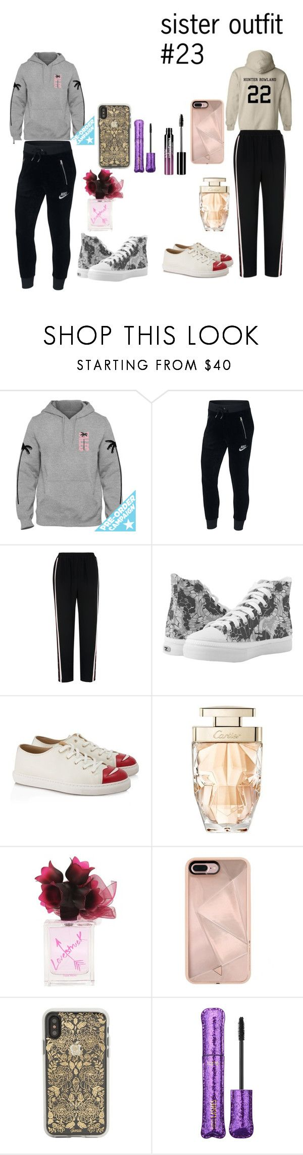 """""""sister outfit #23"""" by rc3149 ❤ liked on Polyvore featuring NIKE, Whistles, Charlotte Olympia, Cartier, Rebecca Minkoff, Sonix, tarte, Charlotte Russe and plus size clothing"""