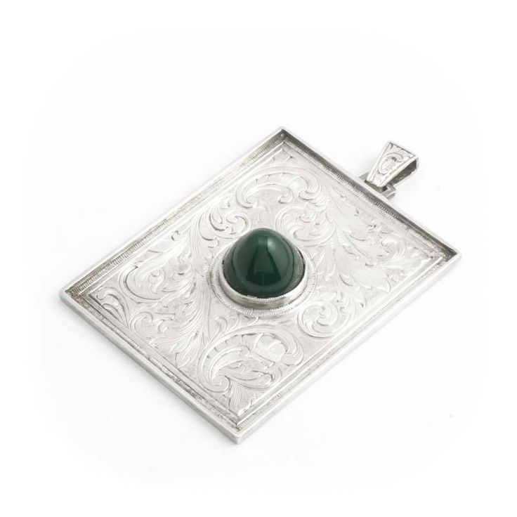 Aurora Patina Zilveren Jugendstil hanger met groene agaat en graveringen