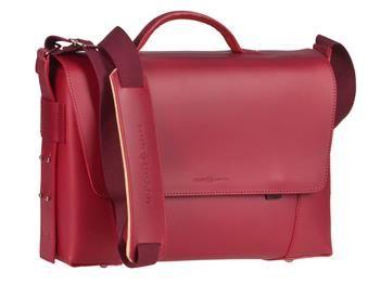 Aktentasche Leder Damen Herren Umhängetasche modern 2 Fächer rot Tasche Schultertasche Lehrertasche Businesstasche