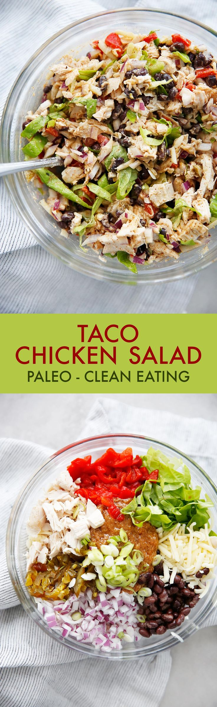 This healthy Taco Chicken Salad recipe is the perfect switch up from your classic chicken salad recipe. All the taco flavors you love, made into a great meal prep lunch recipe. Gluten-free and paleo-friendly, and a perfect, kid-friendly chicken salad!