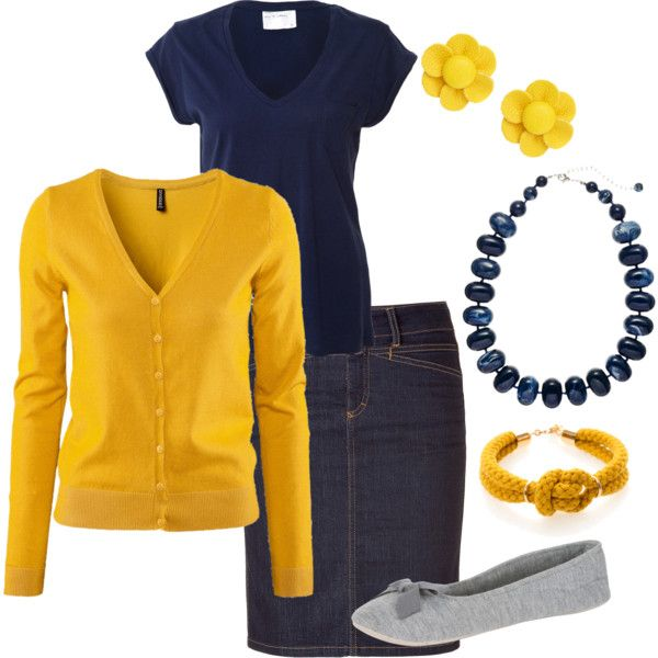Navy and Mustard Yellow with denim skirt. Can be done with jeans too. or black pants. white shirt. lots of options! with an under shirt to bring up the neckline