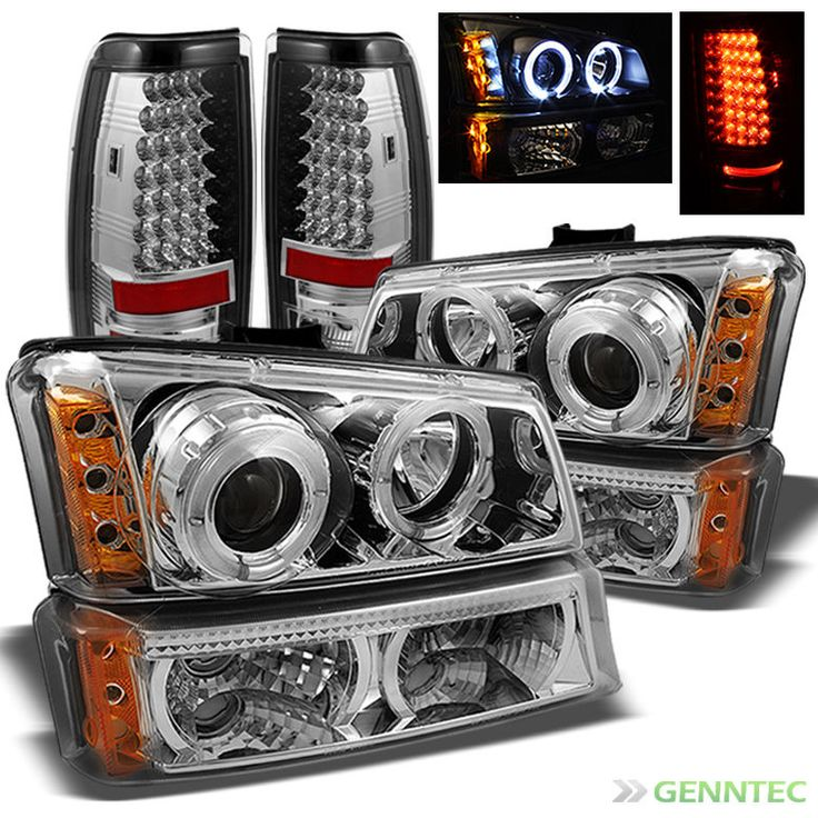 For 03-06 Chevy Silverado Twin Halo LED Pro Headlights+Bumper+LED Tail Lights