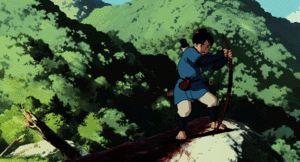 鹿?に飛び乗るアシタカ。もののけ姫のGIF画像 created by GIF画像まとめ