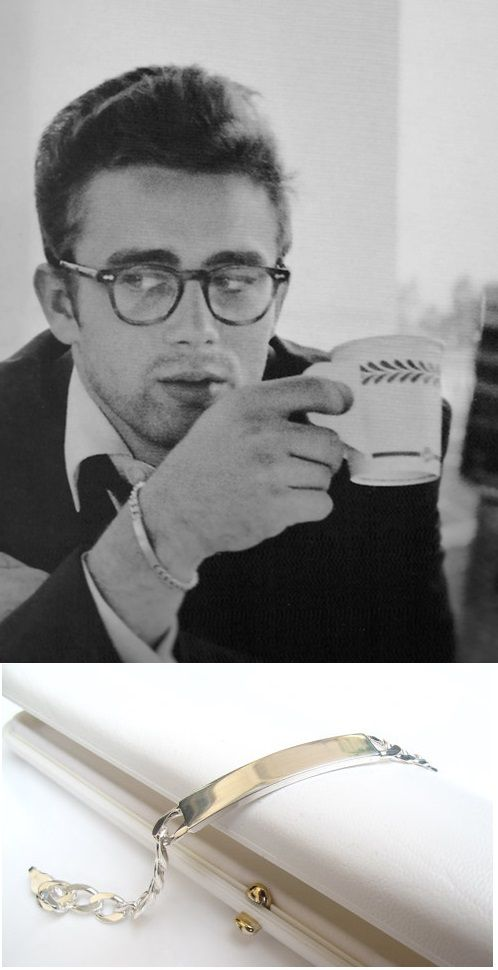 Iconic cool-James Dean wearing a classic silver ID bracelet. This and 35 other great jewelry gifts for men feature in Karus Chains article.