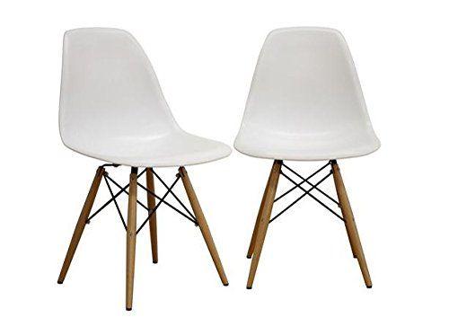 Fancierstudio Mid Century Modern Designer Chair Plastic Chair Side Chair Dinning Chair Eiffel Chair By Fancierstudio EM01w (set of 2) - $99