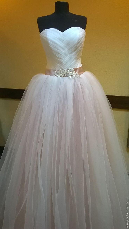 Купить Свадебное платье - бледно-розовый, платье со шлейфом, невеста-принцесса, нежность, невеста