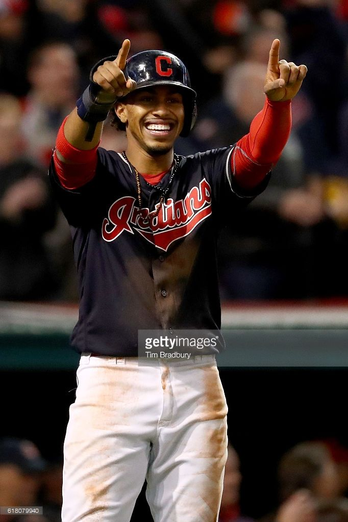 Francisco Lindor #12 of the Cleveland Indians celebrates after scoring a run during the first inning against the Chicago Cubs in Game One of the 2016 World Series at Progressive Field on October 25, 2016 in Cleveland, Ohio.
